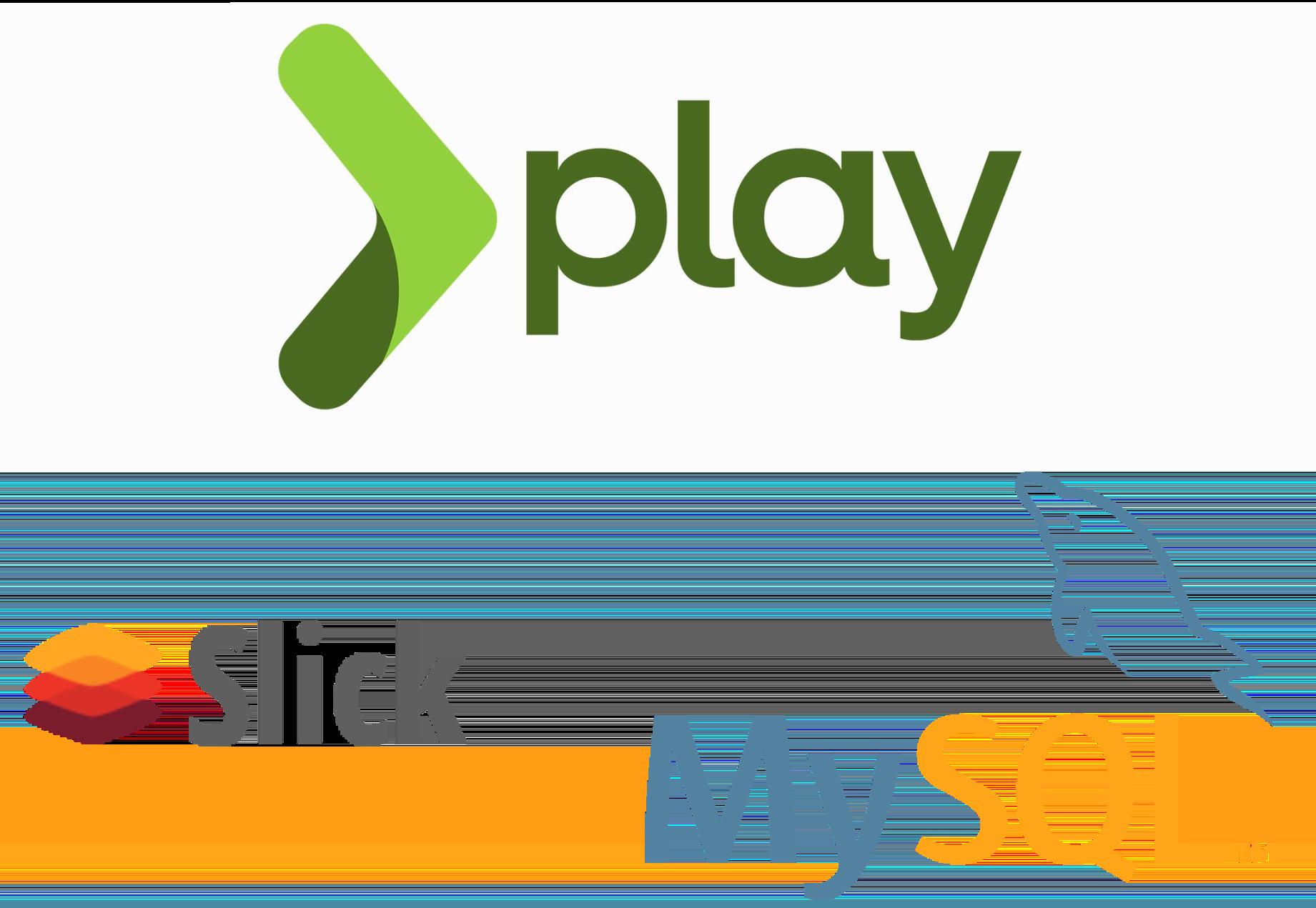 Play framework, Slick, and MySQL logos